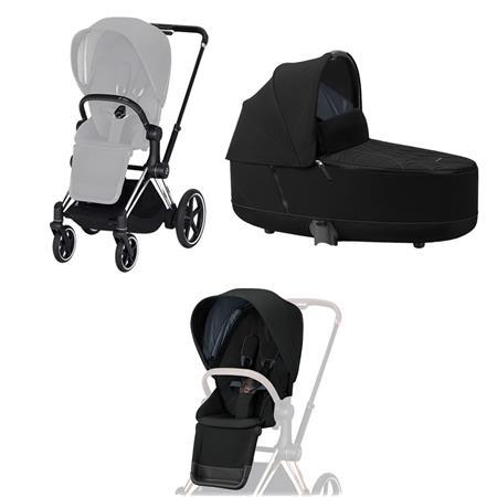 Cybex ePriam-Kinderwagenset Rahmen Chrome Black, Seat Pack, Lux Carrycot Deep Black