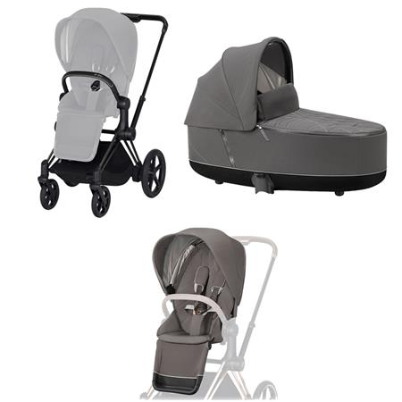 Cybex ePriam-Kinderwagenset Rahmen Matt Black, Seat Pack, Lux Carrycot Soho Grey