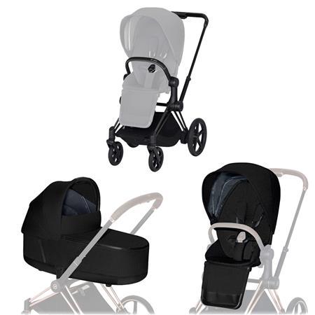 Cybex ePriam-Kinderwagenset Rahmen Matt Black, Seat Pack, Lux Carrycot Stardust Black  Plus