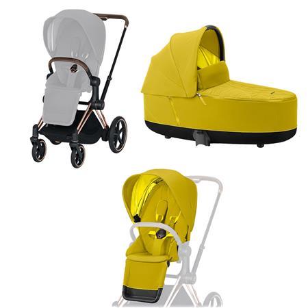 Cybex ePriam-Kinderwagenset Rahmen Rosegold, Seat Pack, Lux Carrycot Mustard Yellow