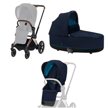 Cybex ePriam-Kinderwagenset Rahmen Rosegold, Seat Pack, Lux Carrycot Nautical Blue