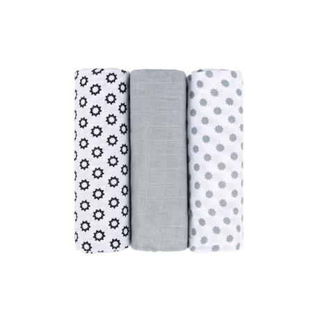 Lässig Muslin Swaddle & Burp Blanket L Little Chums Stars white