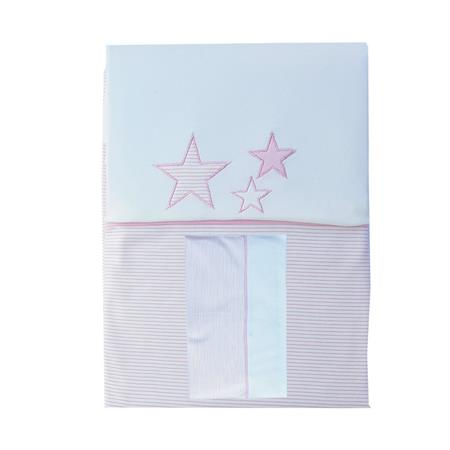 Minou Bio Bed Linen 100x135 Stars Pink Stripes