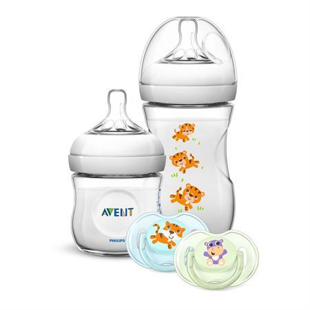 Philips Avent Naturnah Geschenk Set Safari Flaschen (125ml, 260ml, BS 0-6m 2er Pack)