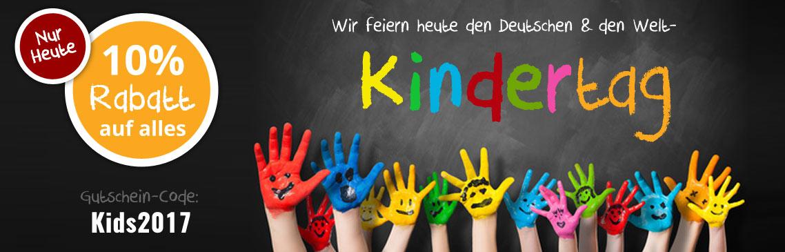 Heute ist Kindertag. Wir spendieren Euch 10% Rabatt auf das gesamte Sortiment!