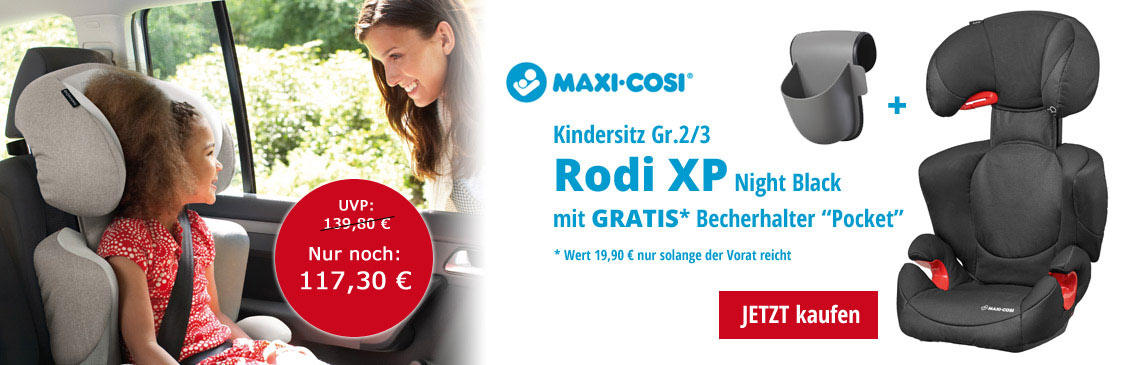 Maxi Cosi Rodi Kindersitz Gruppe 2/3 kaufen und einen Becherhalten Pockit Gratis dazu bekommen.