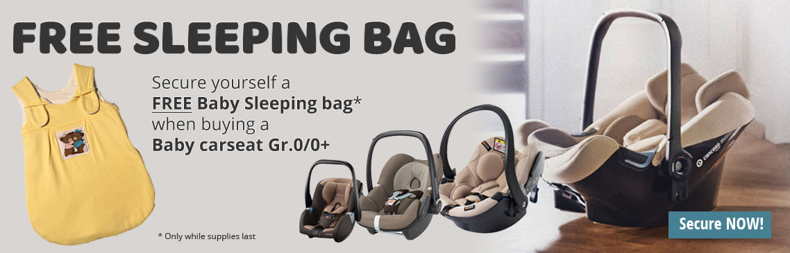 We give you with every baby carseat gr.0/0+ purchase a sleepingbag for free