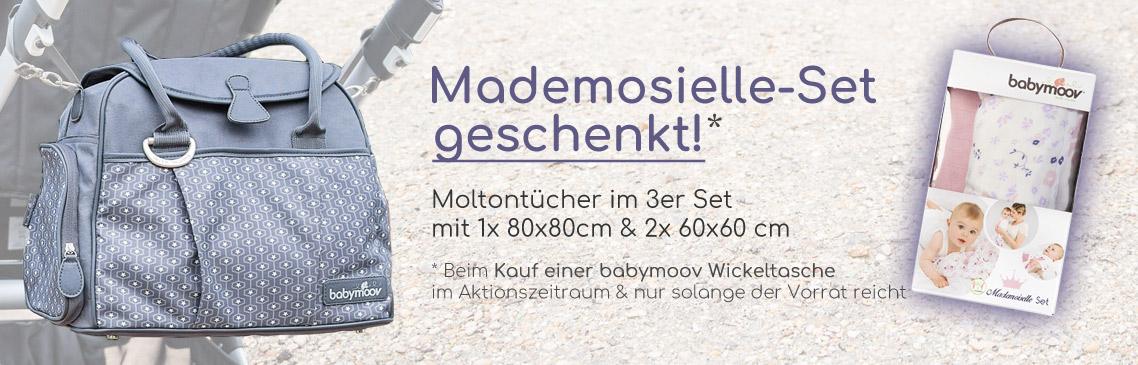 Kaufe eine Babymoov Wickeltasche und wir schenken Dir ein Mademoiselle-Set dazu! Wert 19,99 EUR
