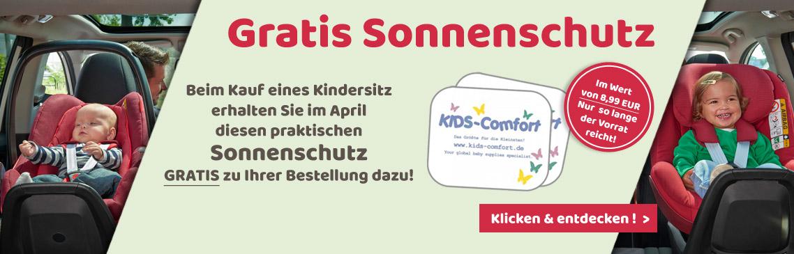 Beim Kauf eines Kindersitzes den Sonnenschutz von Kids-Comfort Gratis dazu erhalten!