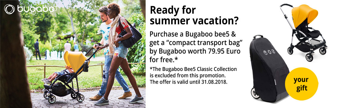 Purchase a Bugaboo bee5 City stroller and get a bugaboo compact transportbag (value 79,95 EUR) for FREE!