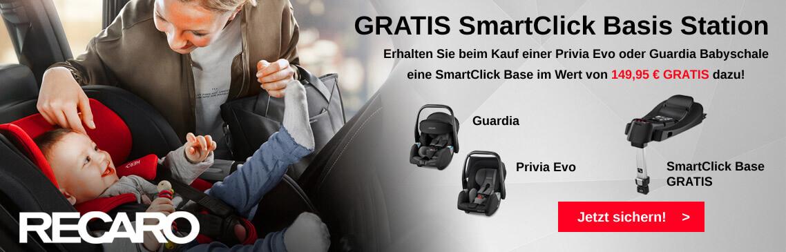 Erhalten Sie beim Kauf einer Recaro Babyschale Privia Evo oder Guardia eine SmartClick Isofix Basis Station GRATIS dazu!