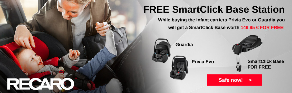 While buying a Recaro infant carrier Privia Evo or Guardia you will get the SmartClick Isofix Base for FREE!
