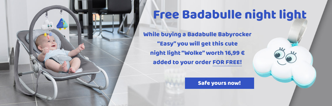 Get a FREE night light now while buying a badabulle baby rocker easy!