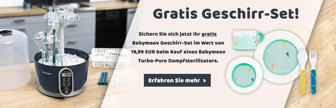 Sichern Sie sich jetzt Ihr GRATIS Geschirr-Set beim Kauf eines Babymoov Turbo-Pure Dampfsterilisators!