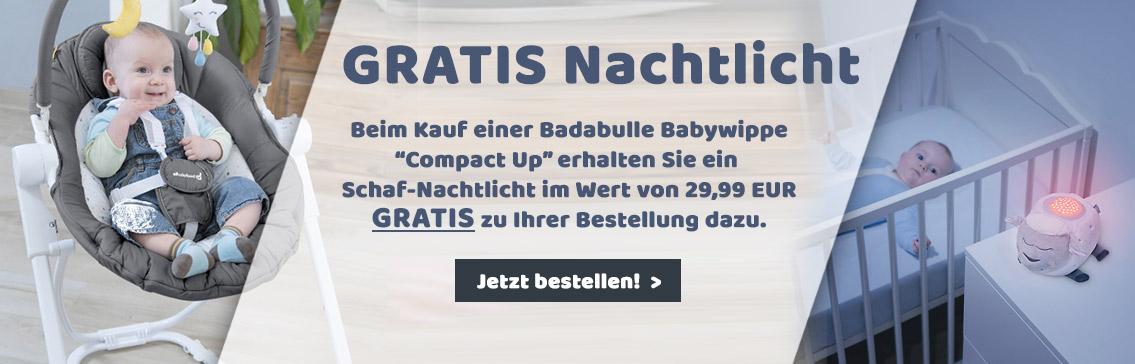 Jetzt GRATIS Nachtlicht im Wert von 29,99 EUR beim Kauf einer Badabulle Babywippe sichern!