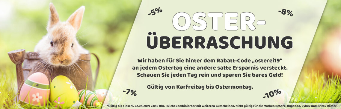 Oster-Überraschung! Sparen Sie über die Oster-Feiertage bis zu 10%!