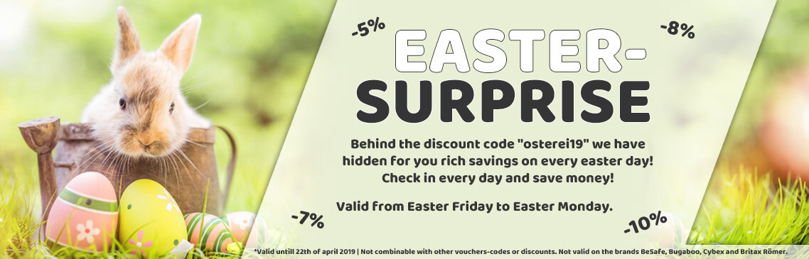 Easter Surprise! Safe up to 10% discount on the easter days!