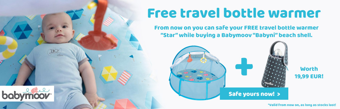 Safe now your FREE bottle warmer while buying a babymoov beach shell!