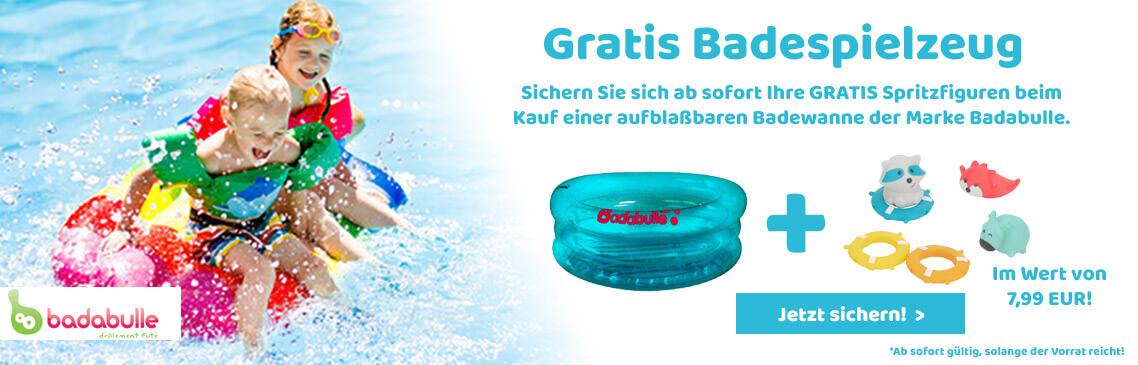 Jetzt beim Kauf einer aufblasbaren Baby-Wanne GRATIS Badespielzeug sichern!