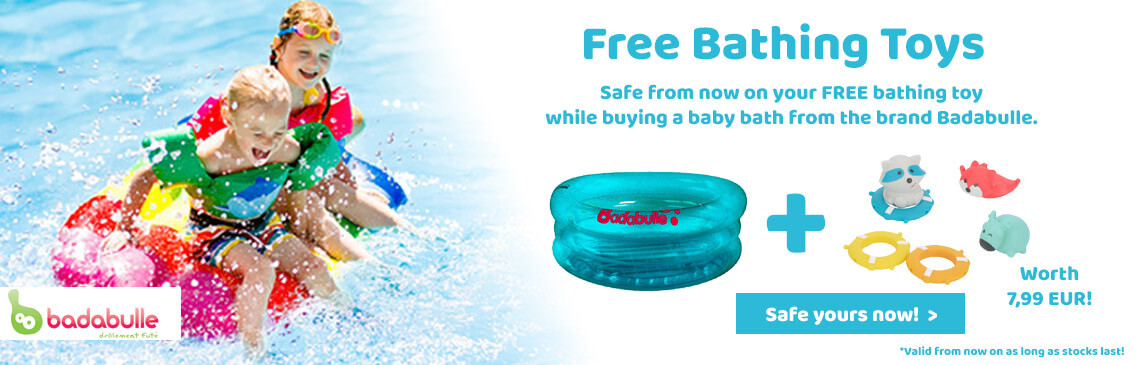 Safe your FREE bathing toy now while buying a Badabulle baby bath!