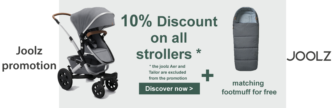 10% on all strollers from joolz and get the matching footmuff for free!