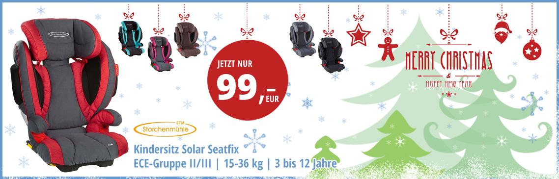 Jetzt das Weihnachtsschäppchen von Kids-Comfort sichern - Solar Seatfix für nur 99 Euro - Kindersitz der Gruppe 2-3