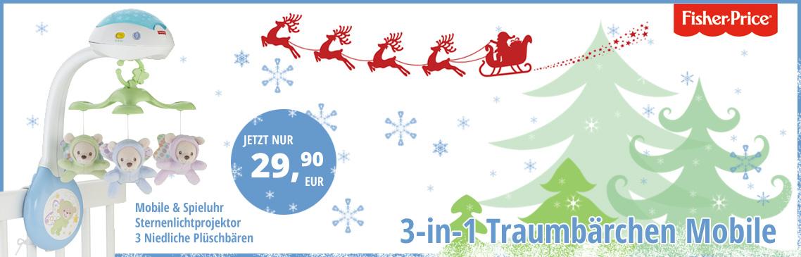 Der Weihnachtsmann macht schon jetzt Geschenke. Jetz 40% sparen - beim Kauf eines Traumbärchen Mobiles mit Sternenprojektor.