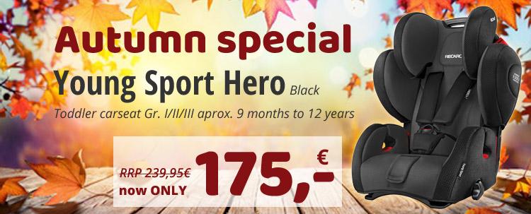 Best price! ONLY 175 EUR! Recaro Young Sport Hero black Toddler carseat Gr.I/II/III!