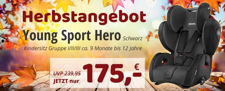 Der Recaro Young Sport Hero schwarz zum Knallerpreis! Nur 175 EUR!