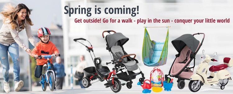 Spring is coming! Get outside! Discover baby products and children's toys for spring at KidsComfort.eu