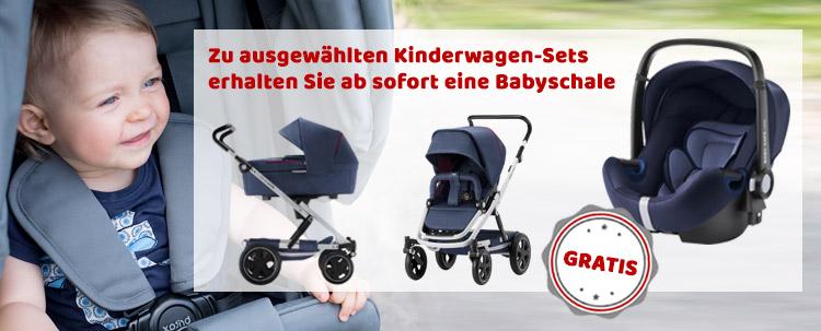 Zu ausgewählten Kinderwagen-Sets erhalten Sie ab sofort eine passende Babyschale GRATIS dazu!