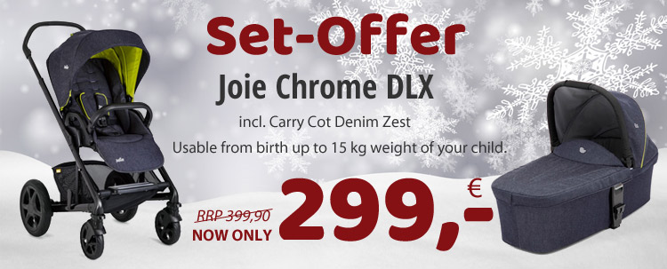 Best-Set-Price! Joie Chrome DLX incl. Carry Cot NOW ONLY 299,- EUR!